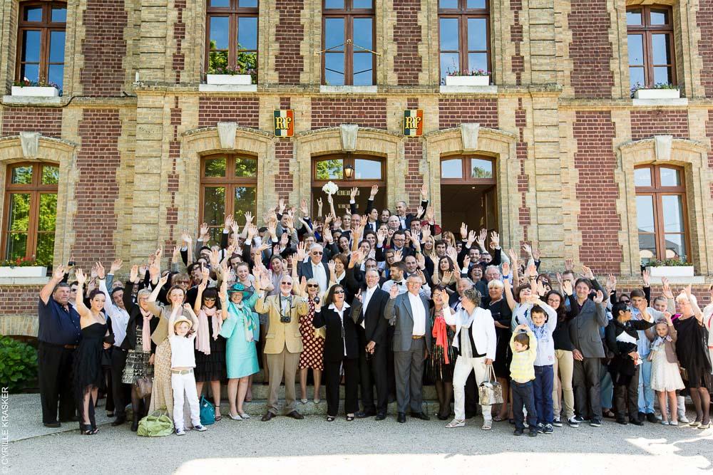 Photo groupe mariage mairie